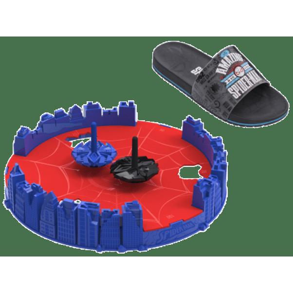 Chinelo-Slide-Menino-Homem-Aranha-Preto-Cinza-com-Brinquedo