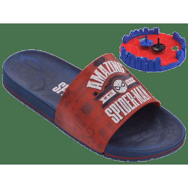 Chinelo-Slide-Menino-Homem-Aranha-Azul-Vermelho