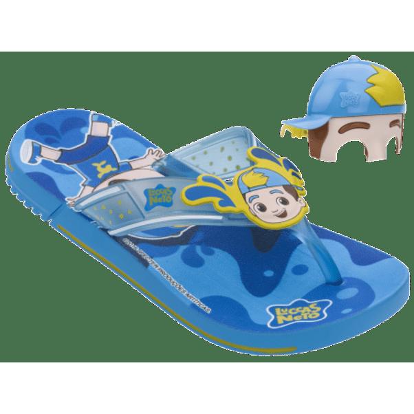 Chinelo-Infantil-Grendene-Luccas-Neto-Mask-Azul-Amarelo-com-Acessorio