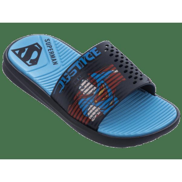 Chinelo-Menino-Slide-Liga-Da-Justica-Azul-Vermelho