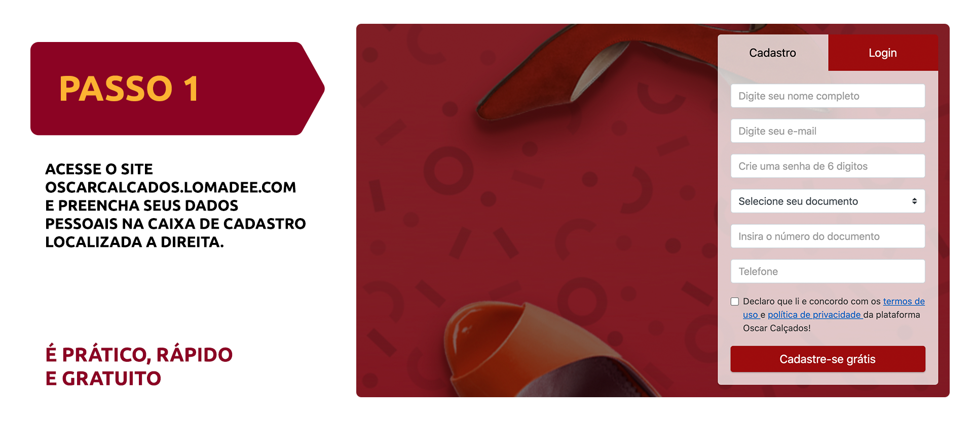 Clique e faça seu cadastro para ser um afiliado Oscar Calçados e começar a lucrar