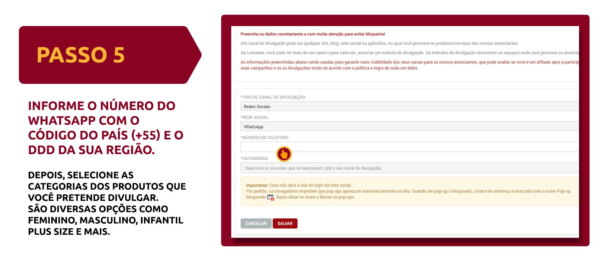 Informe o número do WhatsApp com código do país e ddd, depois selecione as categorias de produtos que pretende divulgar
