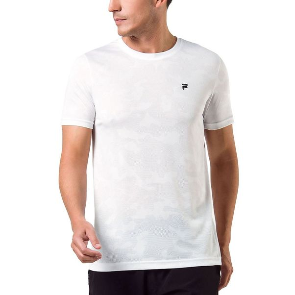 Camiseta-Fila-Jacquard-Branco-Preto-Masculino