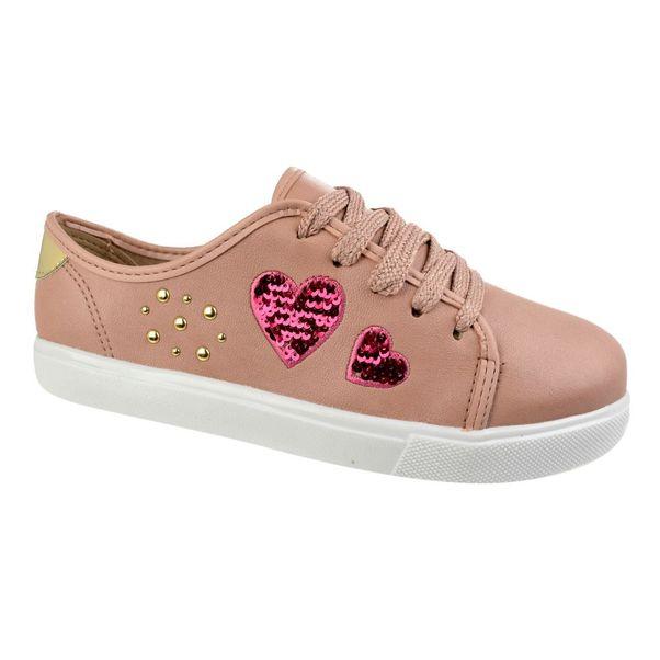 Tenis-Casual-Menina-Molekinha-Hearts-Rosa-Dourado