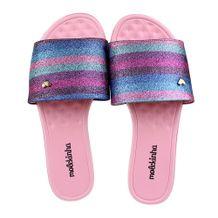 Rasteira-Slide-Menina-Molekinha-Stripes-Rosa-Prata-