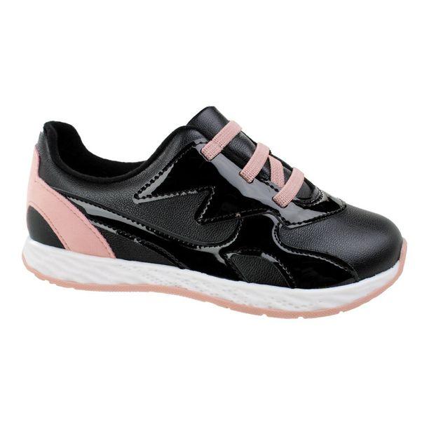 Tenis-Casual-Menina-Molekinha-Glam-Preto-Rosa