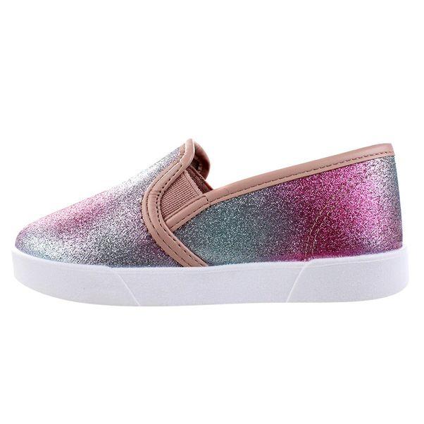 Slip-On-Menina-Molekinha-Glitter-Rainbow-Rosa-Prata
