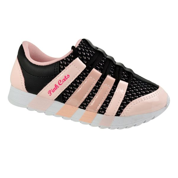 Tenis-Menina-Pink-Cats-Tecido-Rosa-Preto