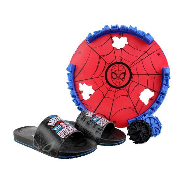 Chinelo-Slide-Menino-Homem-Aranha-Preto-Cinza