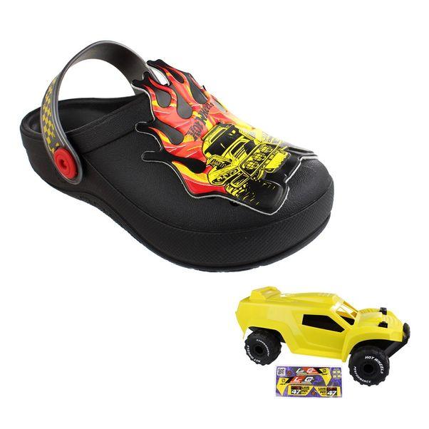 Babuche-Infantil-Grendene-Hot-Wheels-Monster-Black-Silver