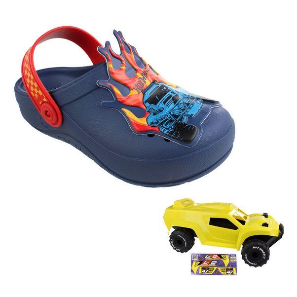 Babuche-Infantil-Grendene-Hot-Wheels-Monster-Navy-Red