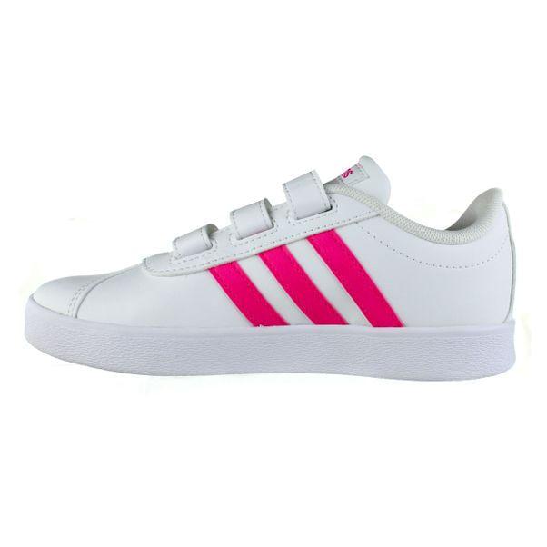 Tenis-Casual-Infantil-Adidas-Vl-Court-2.0-Branco-Rosa