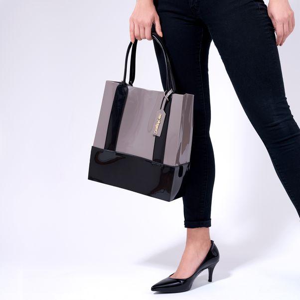 Bolsa-Shopper-Petite-Jolie-Cinza-Preto-Feminino